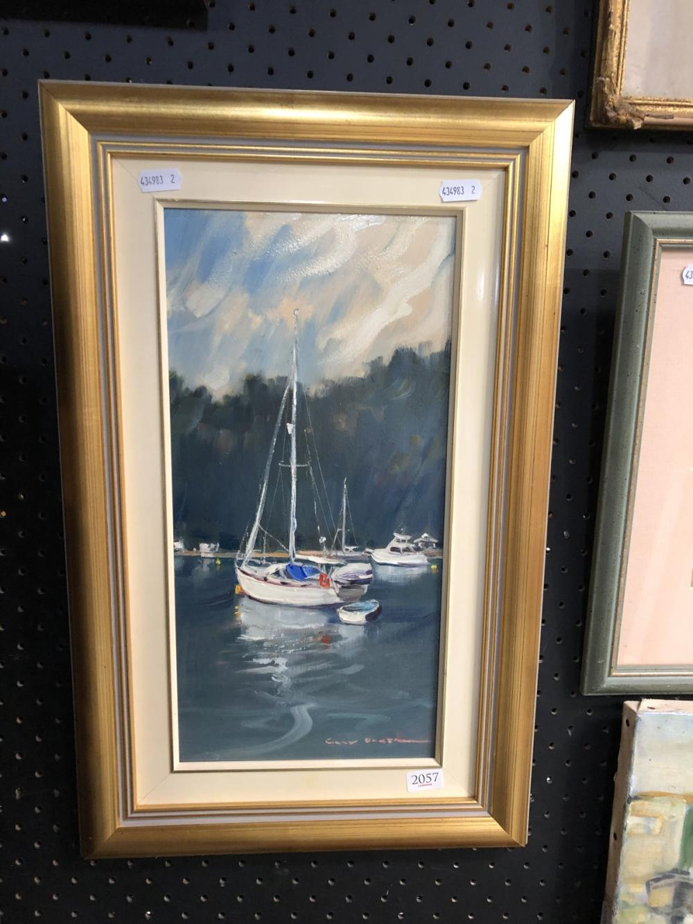 """Gary Baker (1954 - ), """"Pittwater Moorings"""", oil on board, 40 x 34cm, signed lower right"""