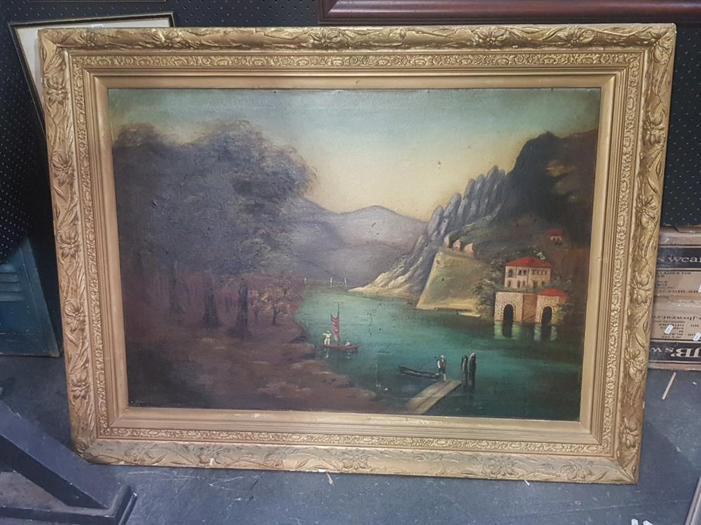 """G. Spruce? """"European Lake Scene with Chateau,1910"""" oil on canvas, 95 x 124cm (gilt frame), signed"""