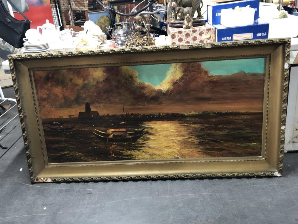 Angelo Perini - Coastal Scene, oil on board, frame 80 x 155cm, signed lower right -