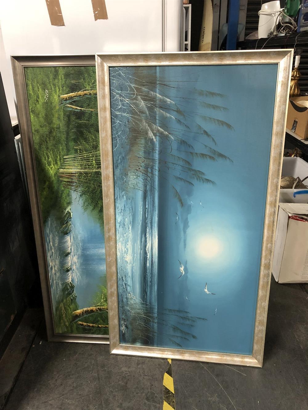2 Works: B.Duggan - Waterfall & Artist Unknown - Landscape, oil on board