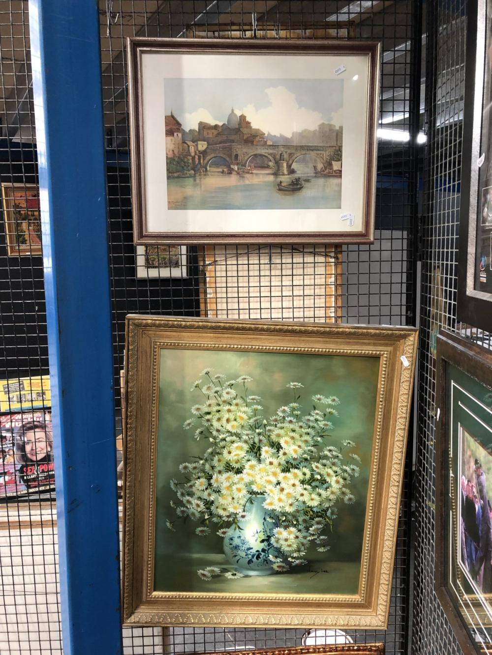 2 Works: Nancy Lee - Still LIfe Daisies, oil on board, SLR with a E. Roesler Franz Print of Rome