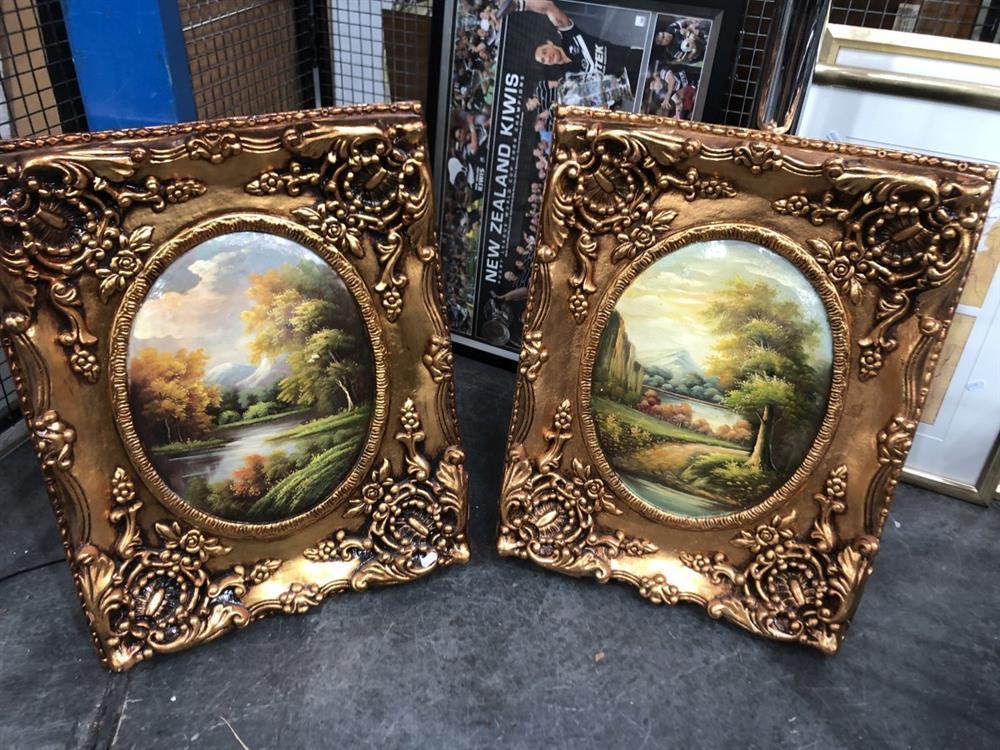 Pair of Landscape Paintings in ornate gilt frames