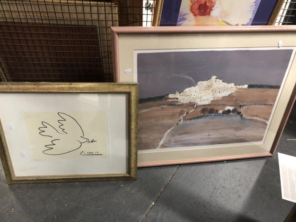 """2 Works: Hill Top Village, Print, 37/15046.5x63cm Plus Picasso Print """"Dove of Peace"""", 24x33cm"""