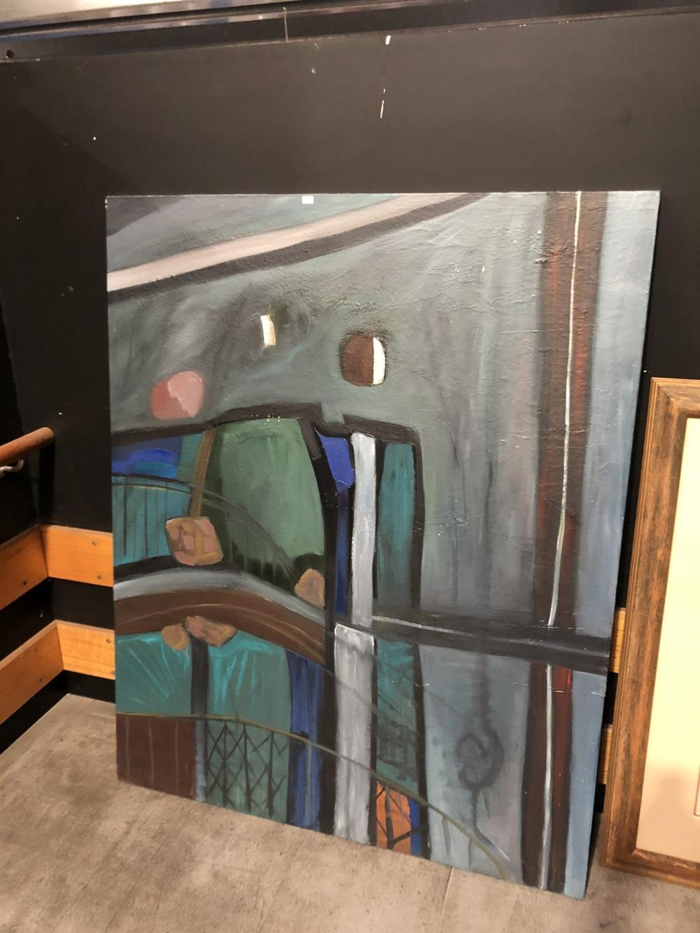 "Artist Unknown ""Sydney Harbour Scene"" acrylic on canvas, 153 x 122cm"