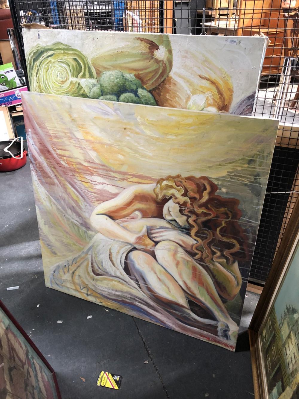 2 Naomi Hamilton Works: Sleeping, oil on canvas, SLR & Kitchen Still Life, oil on canvas, SLR