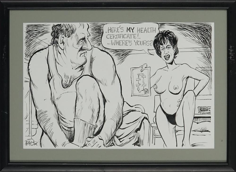 """Geoff Pryor - """"The Health Certificate"""" (for ACT Brothel Laws) 23.5 x 36cm"""