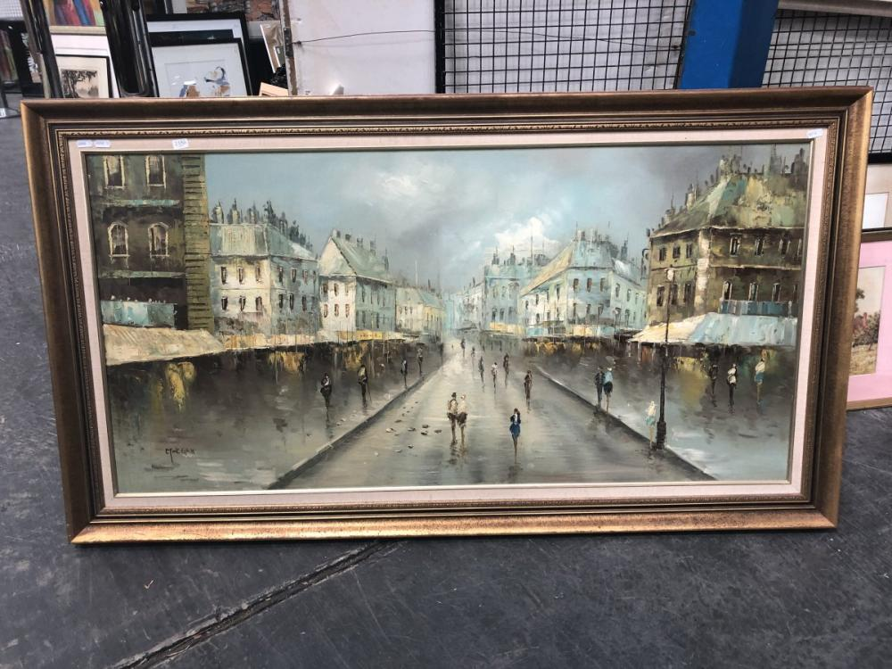 A Morgan - 'Parisian Scene', oil painting, frame size: 76 x 139cm, signed lower right