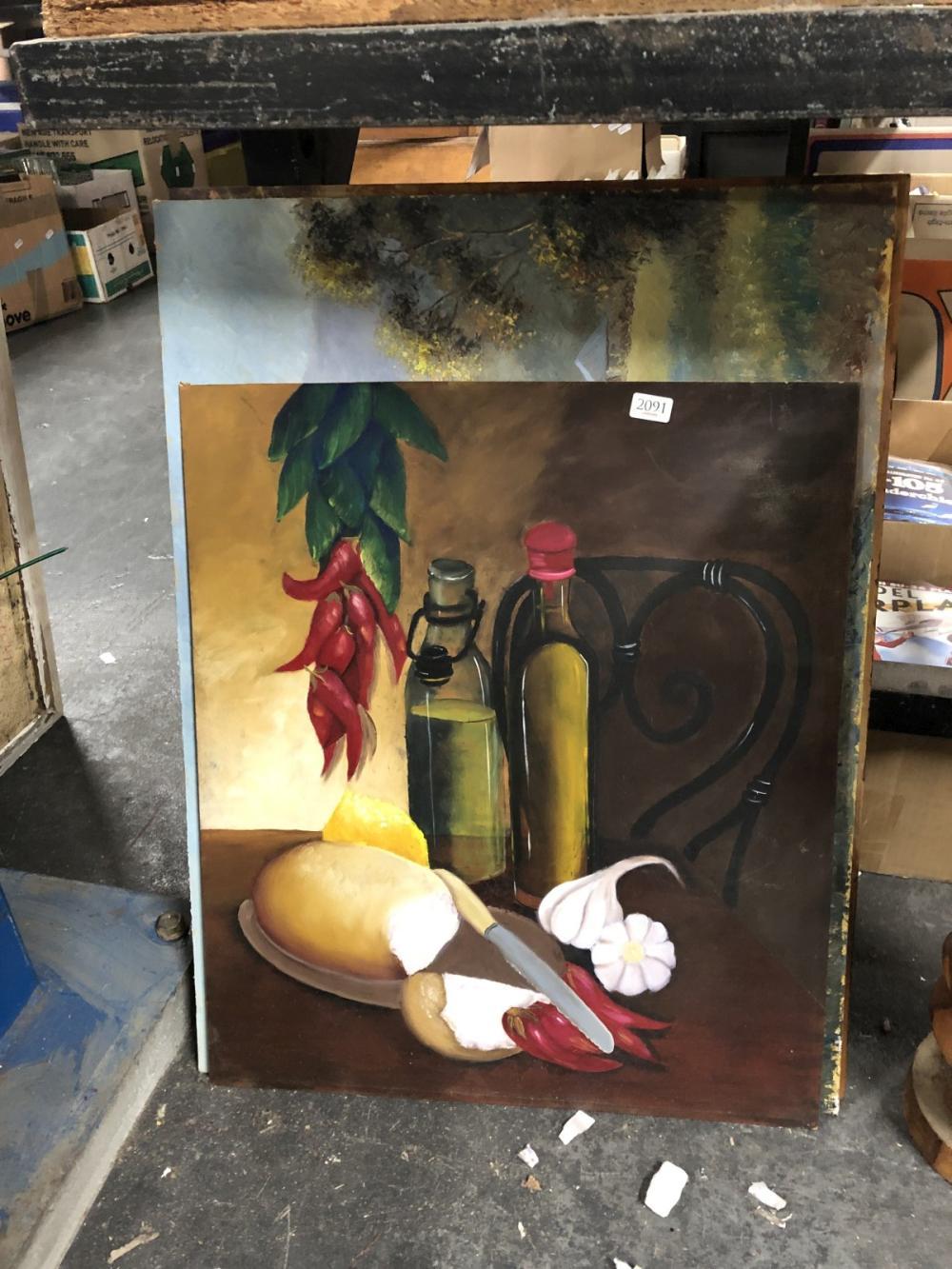 3 Oils on Board, one still life, 2 landscapes
