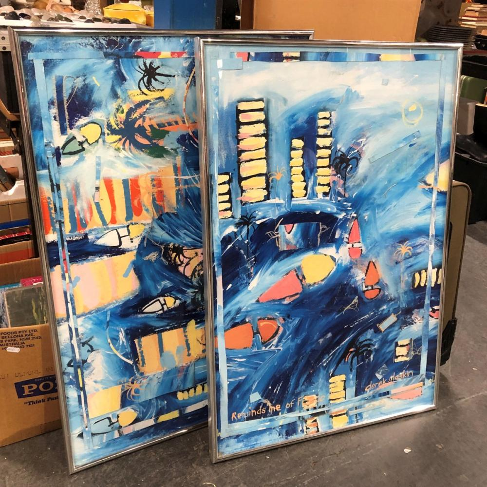 """2 Original Works by Derek Glaskin: """"Reminds Me of Frisco"""" & """"Another Painting About Buildings and Water"""" -"""