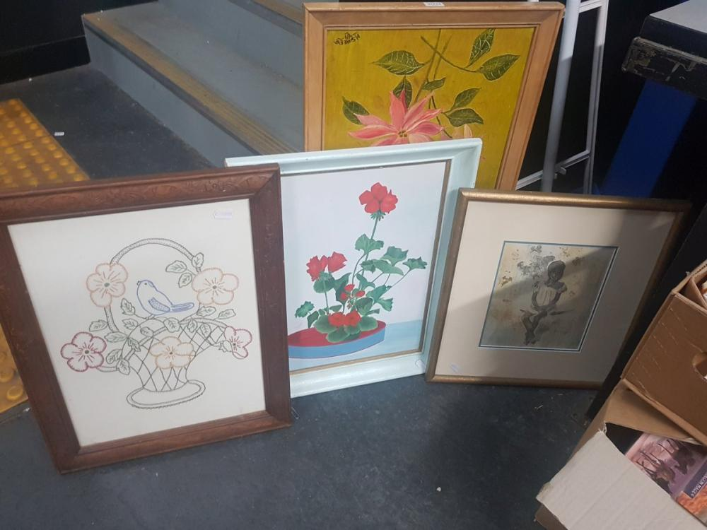 Group of Assorted Artworks incl. Still Life Paintings, Etching and Embroidery (4)