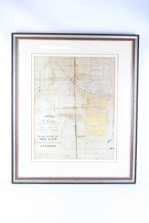 "Framed Plan of the Railway Station, ""Township of St Joseph"""
