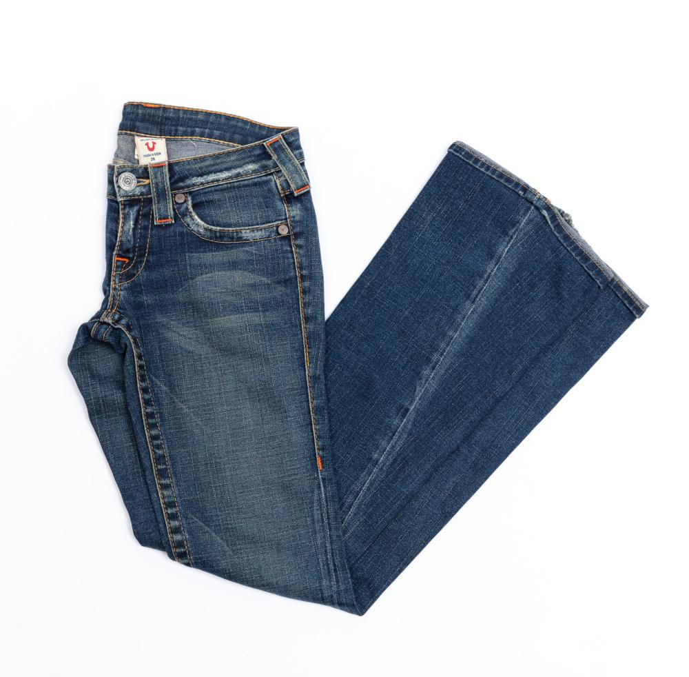 Pair of Dark Denim True Religion Flare Jeans, size 26