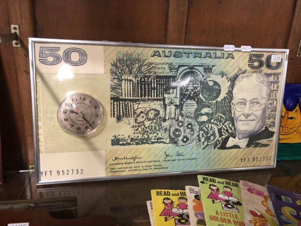 Wall Clock with $50 Note Design