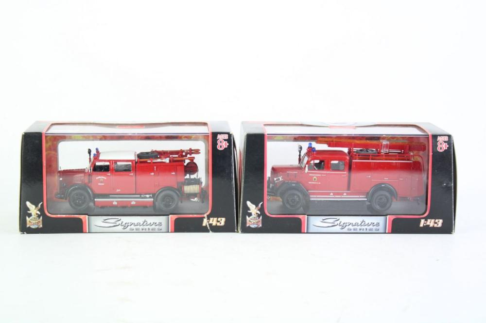 Pair of Yat Ming Signature Series Fire Engine Models Incl. 1964 Magirus-Deutz 150 D 10 F TLF16, and 1950 Mercedes Benz TLF-15