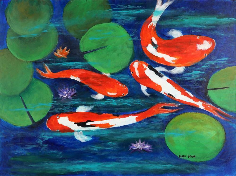 Greg Lipman (1938 - ) - Koi Colour 76 x 101.4cm