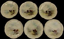 Royal Worcester Harry Stinton Highland Cattle Desert Plates,