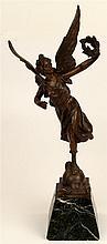 Par Pfeffer Bronze Figure a Victory Angel Titled 'Renommee''