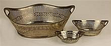 Dutch Sterling Silver Pierced Basket & Two Smaller Silver Examples