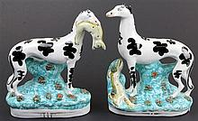 Staffordshire Pair of Hunting Dogs with Hares
