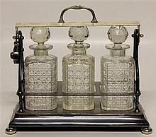 Silver Plated Three Decanter Tantalus