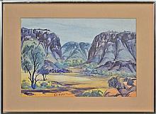 Claude Pannka (1928 - 1972) - Central Australian Landscape 35.5 x 53cm