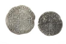 A CHARLES I (1625-1649) SHILLING; obv. crowned bust left, XII rev. coat of arms divided by cross fourchee, diam. 30mm, wt. 5.8g, tog...