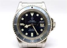 A TUDOR PRINCE OYSTERDATE SNOWFLAKE SUBMARINER WRISTWATCH; ref; 7021/0, in stainless steel with dark blue dial, centre seconds date,...