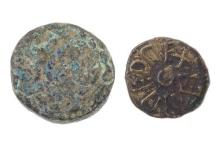 TWO EARLY ENGLISH COINS; Eanred King of Northumbria (810-841AD) Styca Moneyer, and Sceat (c. 600AD).