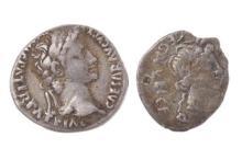 TWO ROMAN EMPIRE SILVER COIN; denarius Augustus (first emperor 27BC-14AD), obv. Augustus, rev. Gaius & Lucius Caesars standing, diam...