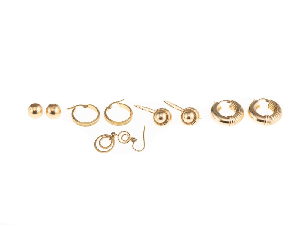 A GROUP OF 9CT GOLD EARRINGS;  2 pairs of hoops, a pair bead studs (1 missing a butterfly), a pair of beaded circles on shepherds ho...
