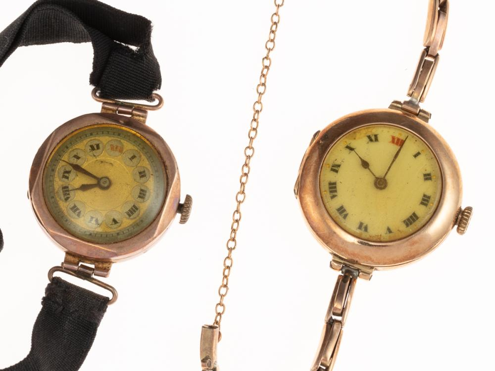 LADYS VINTAGE GOLD ROLEX WRISTWATCH AND ANOTHER; 15ct Rolex with white dial, Roman numerals, 15 jewel movement signed Rolex, case si...
