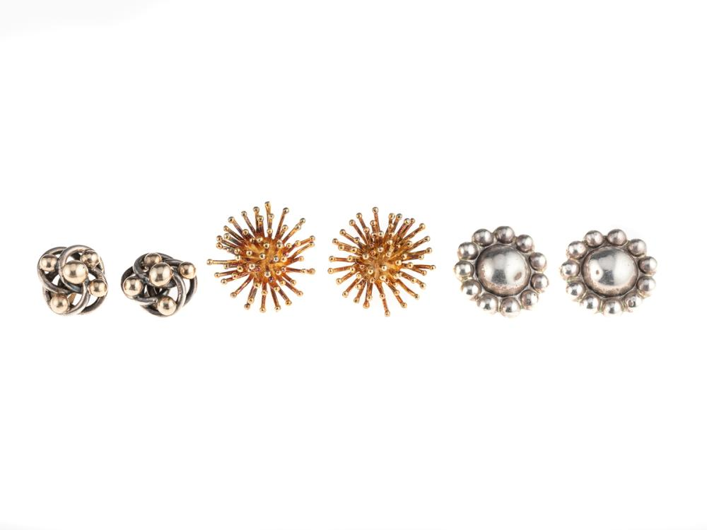 THREE PAIRS OF SILVER EARRINGS; organic designs, 2 with clip fittings, other gilt with screw fittings.