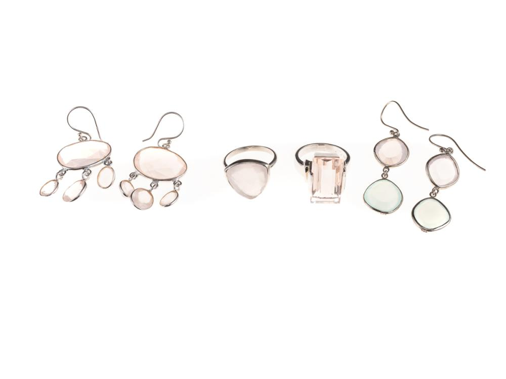 SILVER EARRINGS AND RINGS; two pairs of articulated drop earrings with faceted rose quartz and chalcedony on shepherds hook fittings...
