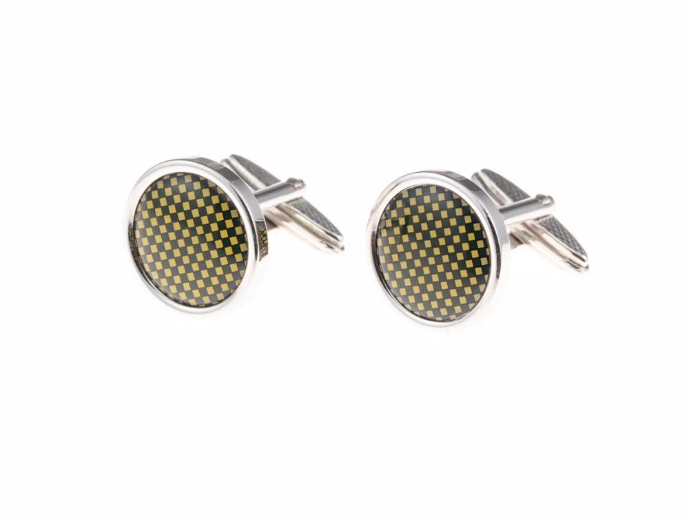 A PAIR OF DUNHILL CUFFLINKS; 17mm round discs featuring green and yellow chequerboard pattern, with box and care booklet.