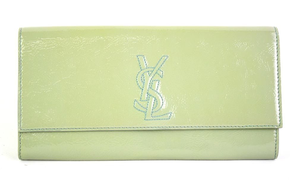 AN YVES SAINT LAURENT BELLE DE JOUR PATENT LEATHER CLUTCH; colour river gauche, interior in black satin stamped Made in Italy 179248...
