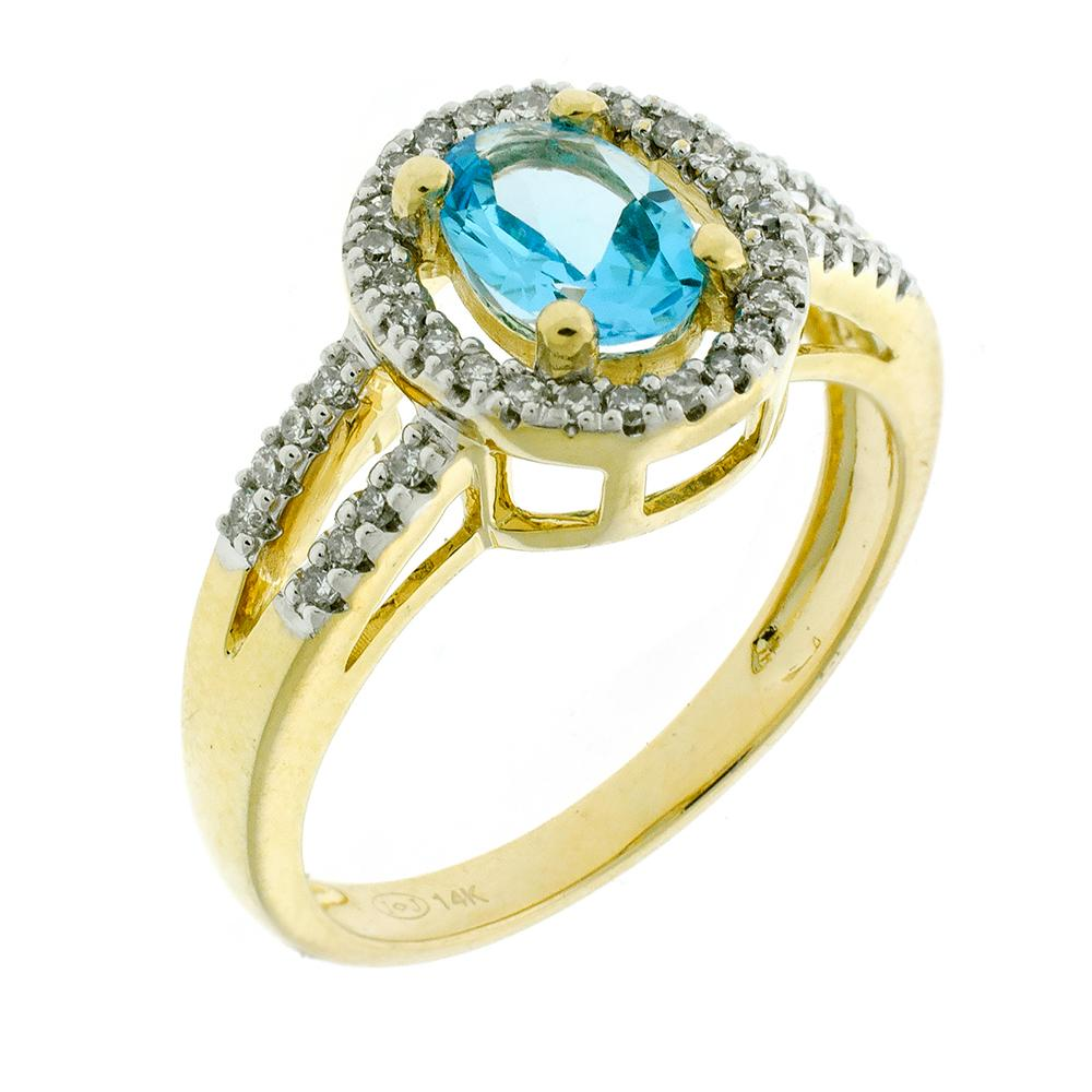 A 14CT GOLD GEMSET CLUSTER RING; centring on an oval cut blue topaz between split shoulders and surround set with single cut diamond...