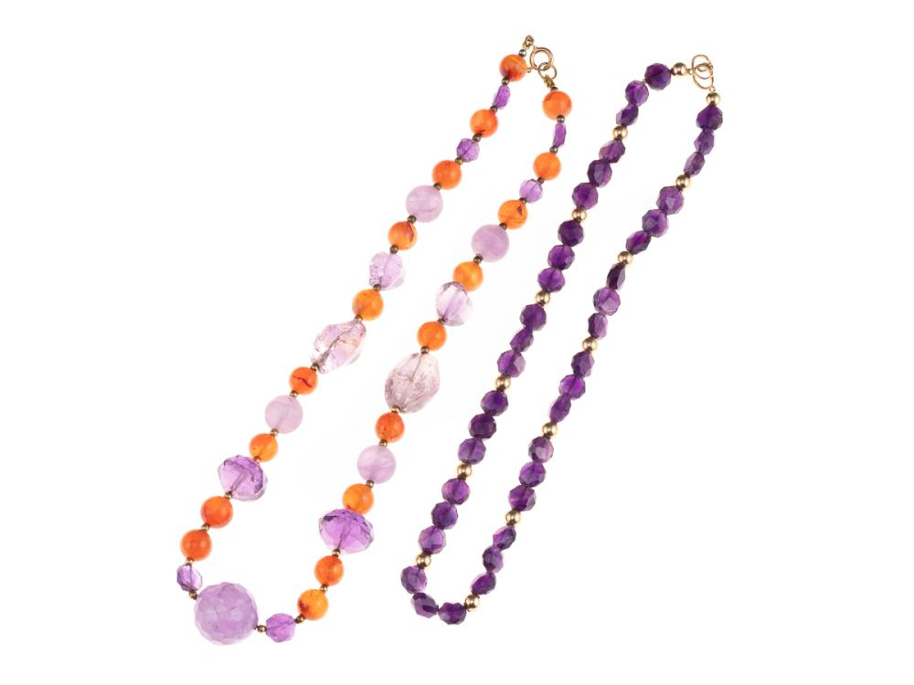TWO GEM BEAD NECKLACES; one a faceted amethyst with 9ct gold clasp and spacing beads, length 44cm, other graduated amethyst and agat...