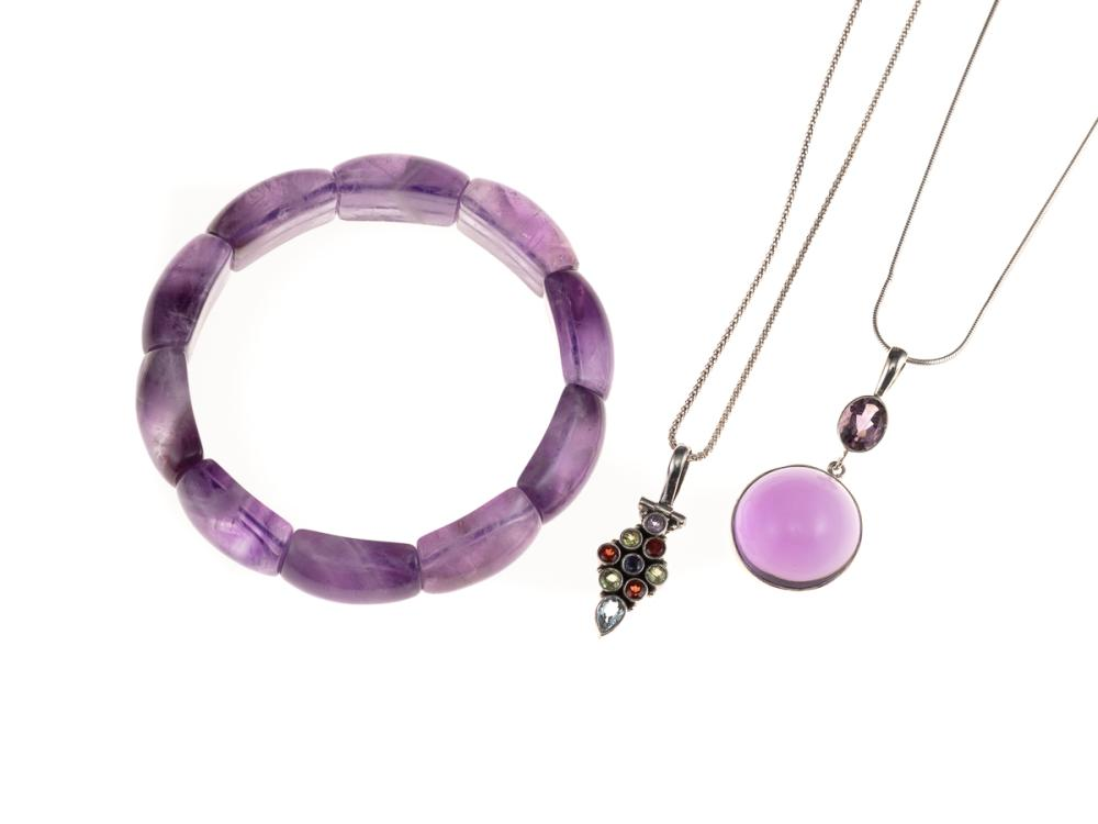 AMETHYST BRACELET AND GEMSET PENDANT NECKLACES; 1 pendant set with a cabochon and oval faceted amethyst (47mm) on snake chain, other...