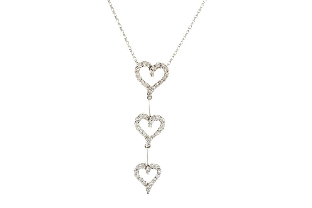 A WHITE GOLD DIAMOND HEART PENDANT NECKLACE; 3 graduated open heart line drop set in 18ct with 49 round brilliant cut diamonds, leng...