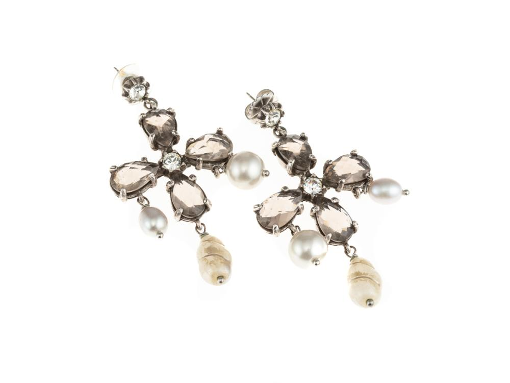A PAIR OF GERARD YOSCA EARRINGS; drops set with pear cut pastes, round cut crystals and faux pearls, length 70mm, with pouch.