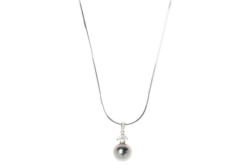 A TAHITIAN PEARL AND DIAMOND PENDANT NECKLACE; 10.4mm round fine cultured pearl to surmount and bale set with 2 marquise and 3 round...