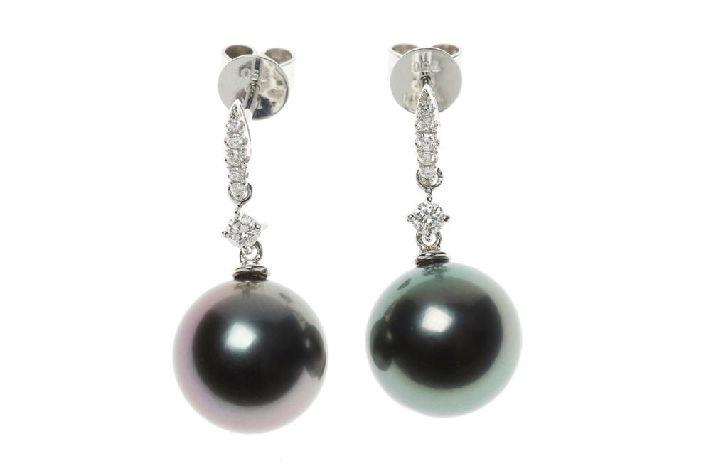 A PAIR OF 18CT WHITE GOLD TAHITIAN PEARL AND DIAMOND EARRINGS; 11.6mm round cultured pearls of good lustre and peacock colour to art...