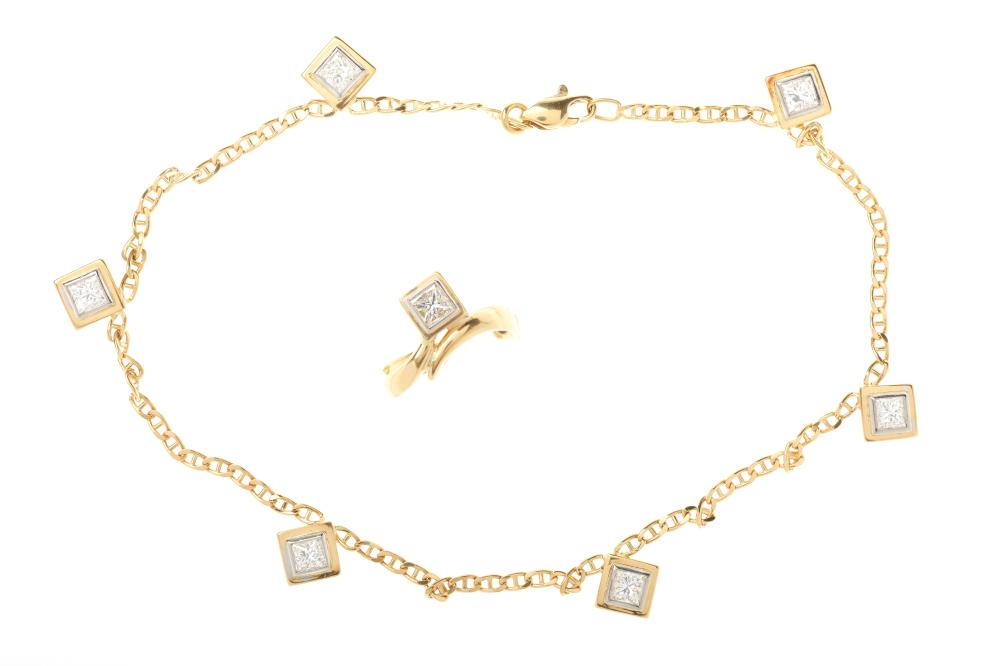 AN 18CT GOLD DIAMOND ANKLET AND TOE RING; toe ring set with a princess cut diamond, and 26cm anklet set with 6 princess cut diamonds...