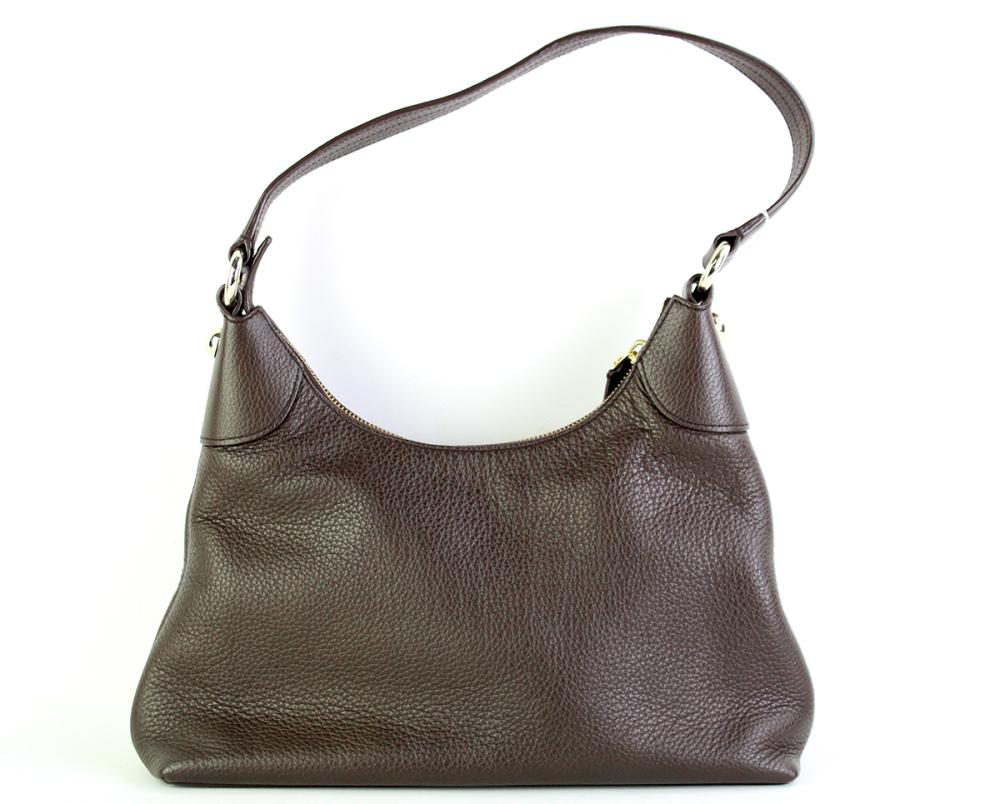 A BALLY BROWN PEBBLE LEATHER SHOULDER BAG; with rose gold coloured hardware an internal tag no. CEBE GV HH, size 30 x 7 x 18cm.