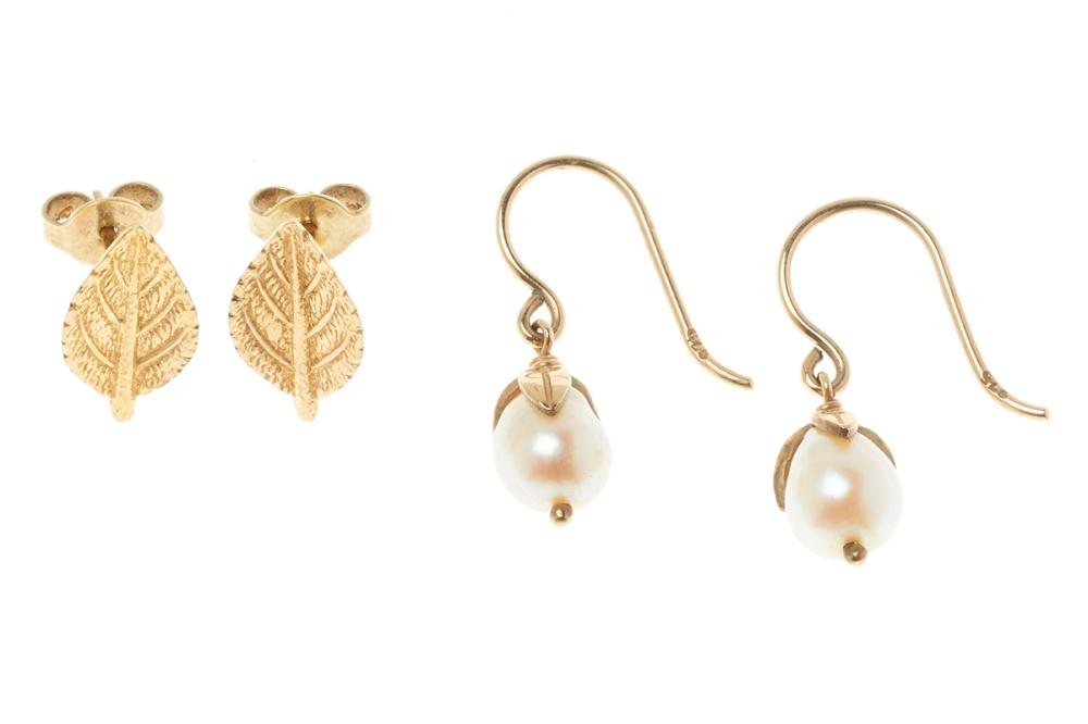 TWO PAIRS OF 9CT GOLD EARRINGS; 6mm wide slightly baroque cultured pearls with leaf style caps to shepherds hook fittings, length 20...