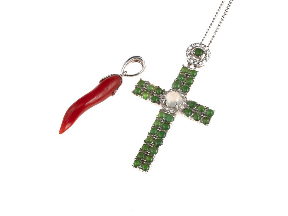 TWO GEMSET PENDANTS; a branch coral with 18ct white gold fittings, other a white metal cross set with green and white cabochon stone...