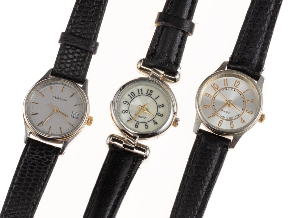 A LADY'S CERTINA QUARTZ WATCH AND TWO OTHERS; Certina ref. EOL 2086, with grey dial, applied markers, center seconds, quick set date...