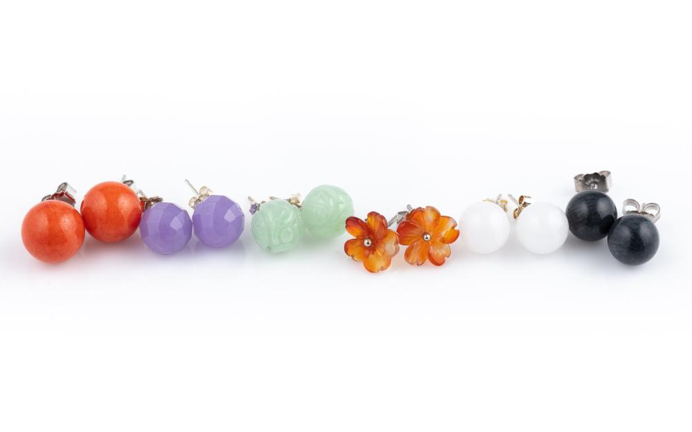 SIX PAIRS OF SILVER STONE BEAD EARRINGS; plain and carved dyed quartz beads to stud fittings.