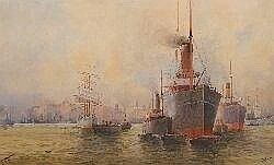 Frederick Elliott (1864-1949) A Commerce Centre of Sydney watercolour 46 x 76cm. signed lower right: F Elliott, inscribed with title lower left