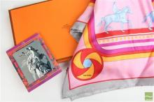 Hermes Marquis De Lafayette Scarf, With horse design on a pink field, in original box and purchase recieptCondition- Excellent- as n...